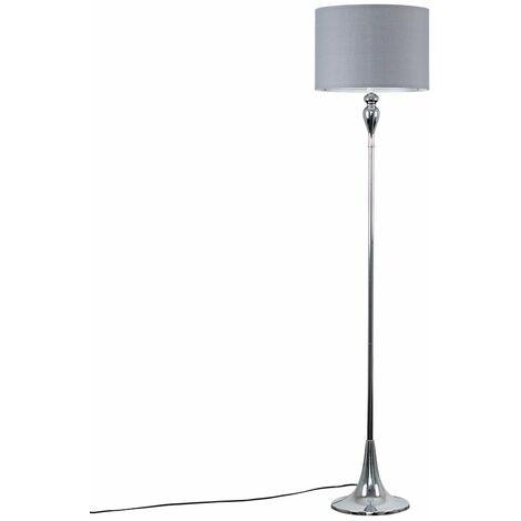 Chrome Spindle Floor Lamp + Grey Light Shade