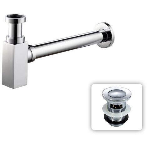 Chrome Square Bottle Trap & Outlet Pipe Bathroom Basin Sink Brass With Free Waste