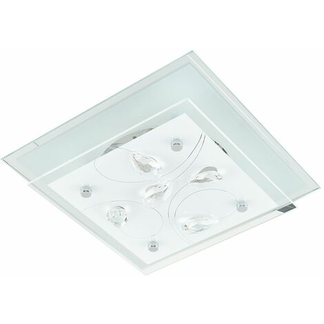 Chrome Square Frosted Glass Clear Lead Crystal 2 Tier Flush Ceiling Light Fitting
