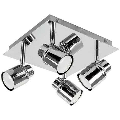 Chrome Square Plate Adjustable IP44 Bathroom 4 Way Ceiling Spotlight - Silver