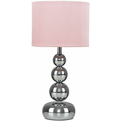 Chrome Stacked Balls Touch Table Lamp + Pink Shade + 5W LED Dimmable Bulb Warm White