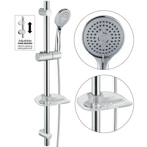 """main image of """"Chrome Stainless Steel Shower Riser Rail Kit + Shower Head + Hose + Soap Dish"""""""