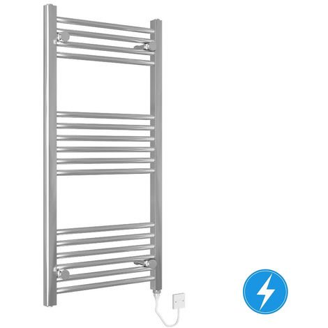 Chrome Straight Electric Heated Towel Rail Radiator 1000x500mm 200W