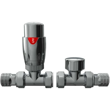 Chrome Straight Thermostatic Radiator Valve Set