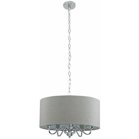 Chrome Suspended 5 Way Ceiling Light Slimline Grey Linen Shade