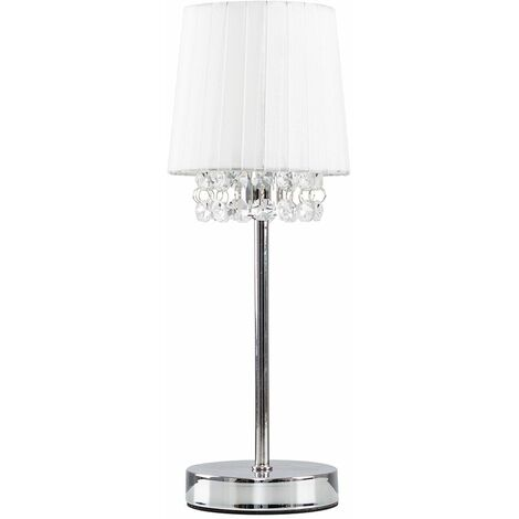 Chrome Table Lamp 32Cm Bedside Lounge Light Acrylic Jewel Crystals