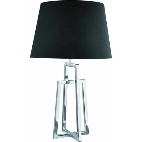 Chrome table lamp and black lampshade