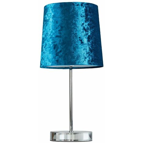 Chrome Table Lamp + Blue Velvet Shade + 4W LED Bulb Warm White