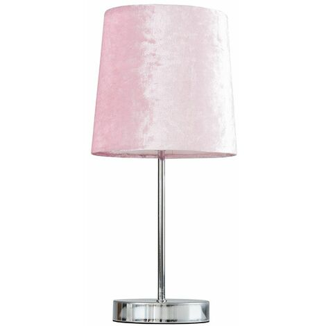 Chrome Table Lamp + Pink Velvet Shade + 4W LED Bulb Warm White