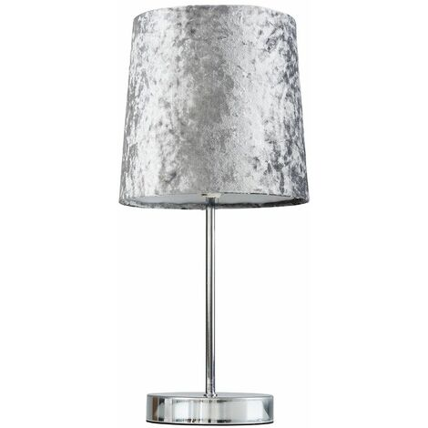 Chrome Table Lamp + Silver Grey Velvet Shade + 4W LED Bulb Warm White