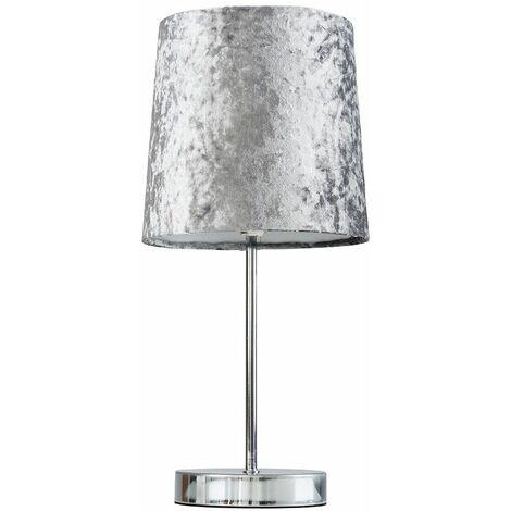 Chrome Table Lamp + Silver Grey Velvet Shade + 4W LED Bulb Warm White - Silver