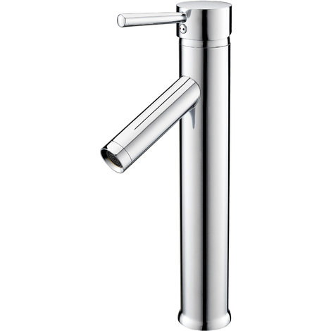 Chrome Tall Counter Top Bathroom Basins Mixer Taps, Single Lever & Hot and Cold Water