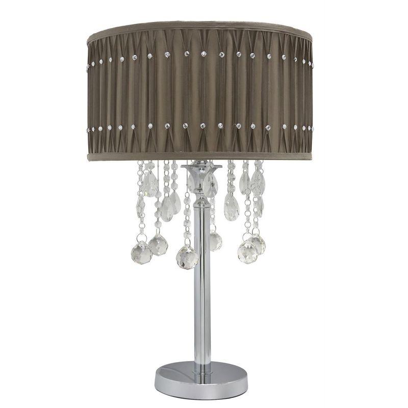 Image of Chrome Taupe Table Lamp Studded Pleated Shade - Light Decor - Big Living - CIMC