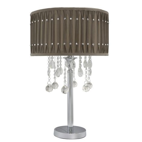 Chrome Taupe Table Lamp Studded Pleated Shade - Light Decor - Big Living