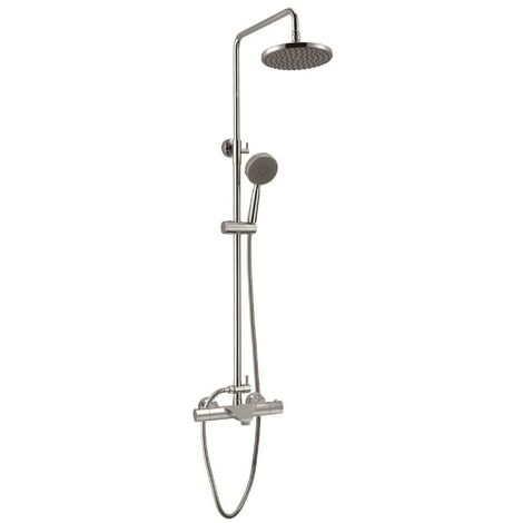 "Chrome Thermostatic Bath Shower Mixer Dual Control, Rigid Riser Rail + 8"" Head"