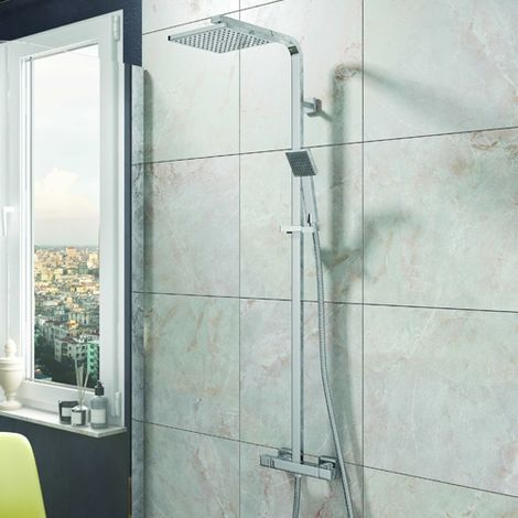 Chrome Thermostatic Square Bar Shower with Twin Shower Options