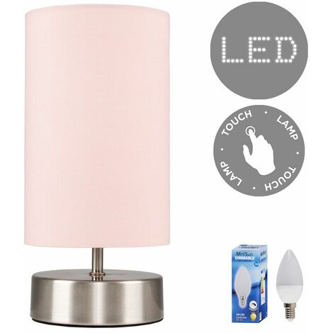 Chrome Touch Dimmer Bedside Table Lamp + Pink Light Shade 5W LED Candle Bulb - Warm White - Silver