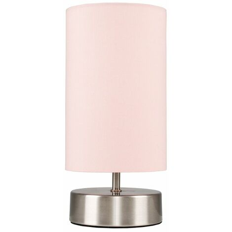Chrome Touch Dimmer Bedside Table Lamp With Pink Light Shade - Silver