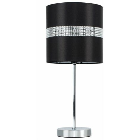 Chrome Touch Dimmer Table Lamp + Black & Silver Diamante Shade + LED Candle Bulb - Warm White