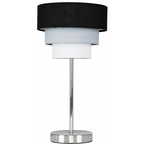 Chrome Touch Table Lamp 3 Tier Fabric Shades Black Grey White
