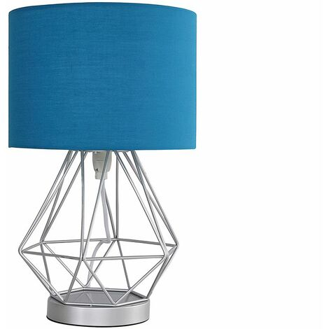 Chrome Touch Table Lamp + French Blue Shade