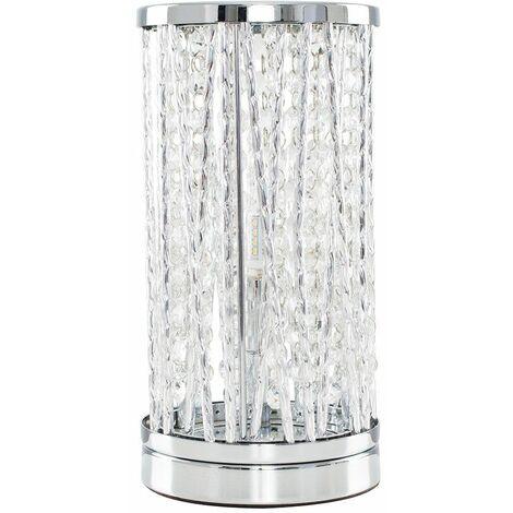 Chrome Touch Table Lamp Light Crystal Glass Jewel - Add LED Bulb