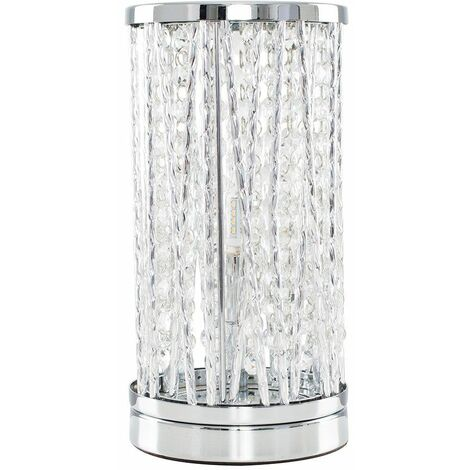 Chrome Touch Table Lamp Light Crystal Glass Jewel - No Bulb - Silver