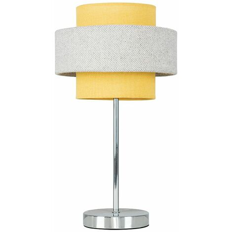 Chrome Touch Table Lamp + Mustard & Grey Herringbone Shade + 5W LED Dimmable Bulb Warm White - Silver