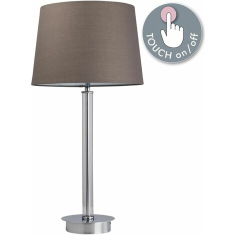 Chrome Touch Table Lamp or Bedside Light Modern Design Grey or White Shade
