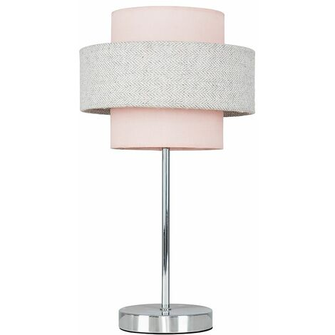 Chrome Touch Table Lamp + Pink & Grey Herringbone Shade + 5W LED Dimmable Bulb Warm White