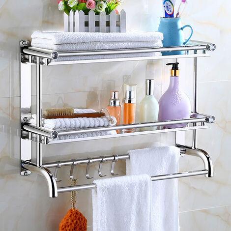 Chrome Towel Rail Holder Stainless Steel Wall Mounted Bathroom Rack Shower Shelf
