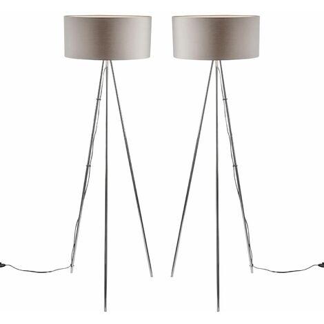 Chrome Tripod Floor Lamp Standard Light w/ Large Grey or White Fabric Shade