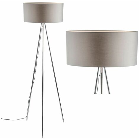 Chrome Tripod Floor Lamp with White or Grey Fabric Shade