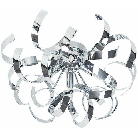 Chrome Twisted Ribbon Ceiling Light 3W LED Bulbs Warm White