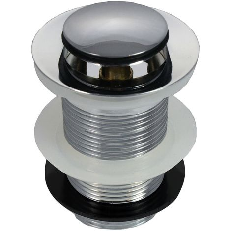 CHROME UNSLOTTED CLICK CLACK BASIN SINK TAP PUSH BUTTON WASTE DISC POP UP PLUG