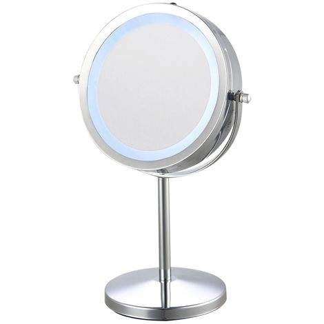 Chrome Vanity Mirror With Light & 6x Magnification - 170mm Diameter
