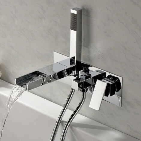 Chrome wall mounted bath mixer tap - Alnair