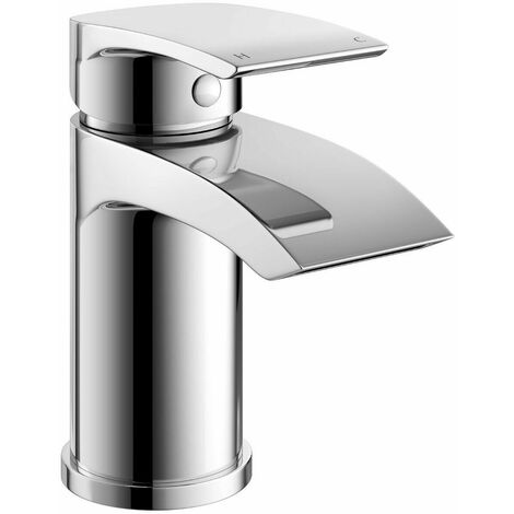 Chrome Waterfall Basin Mono Mixer Tap Bathroom Sink Single Lever Round & Waste