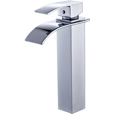Chrome Waterfall Basin Sink Mixer Tap Bathroom Lever Single Handle Brass Faucet, Height 280mm