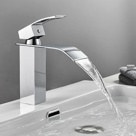 """Chrome Waterfall Basin Sink Mixer Tap Bathroom Lever Single Handle Brass Faucet, Height 7"""""""