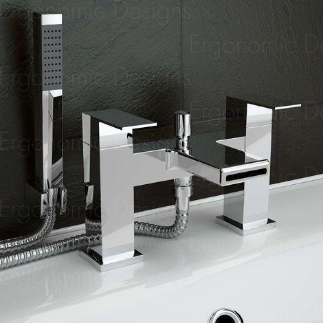 Chrome Waterfall Cascade Deck Mounted Bath Filler Mixer Tap With Side Shower