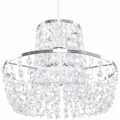 Chrome Waterfall Chandelier Acrylic Jewel Droplet Ceiling Light Shade
