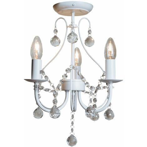 Chrome White & Crystal 3 Light Ceiling Fitting Chandelier Lounge Sapparia