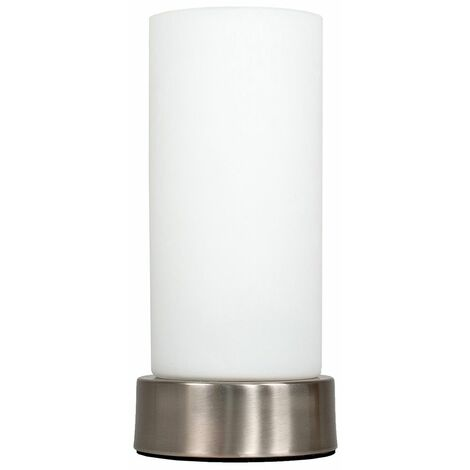 Chrome White Frosted Glass Table Lamp Light Lamps - Silver