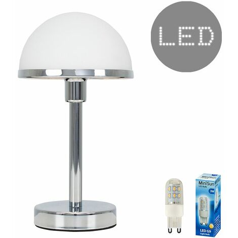 Chrome & White Glass Touch Dimmer Table Lamp - 3W LED Dimmable G9 Bulb Warm White