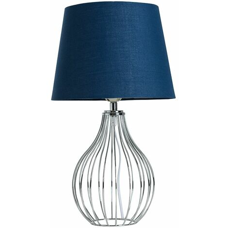 Chrome Wire Basket Table Lamp + Navy Blue Shade 4W LED Bulb Warm White