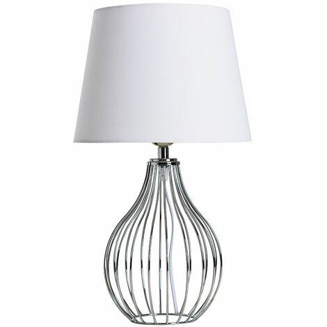 Chrome Wire Basket Table Lamp + White Shade 4W LED Bulb Warm White