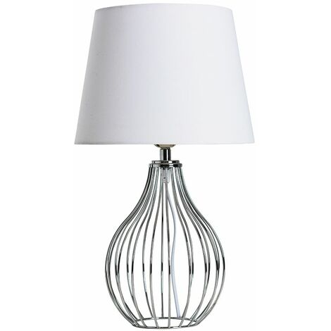 Chrome Wire Basket Table Lamp + White Shade