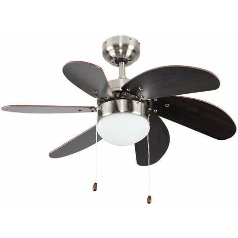 "Chrome & Wood 30"" 6 Blade Ceiling Fan + Flush Light + Remote Control"