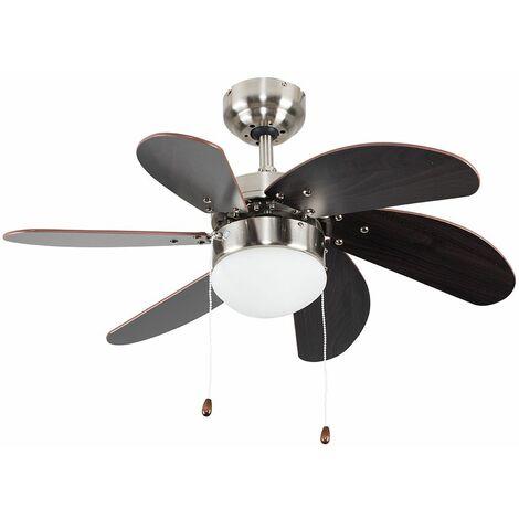 "Chrome & Wood 30"" 6 Blade Ceiling Fan + Flush Light + Remote Control - Silver"